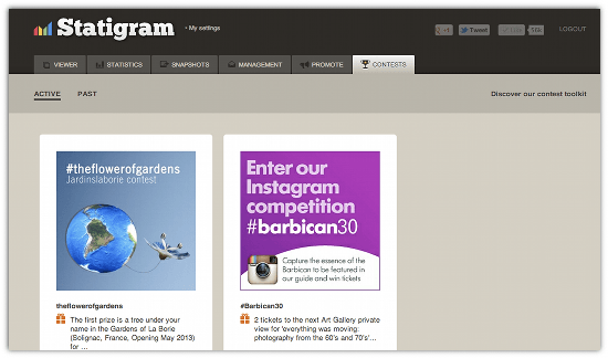 Discover Instagram Contests with Statigram