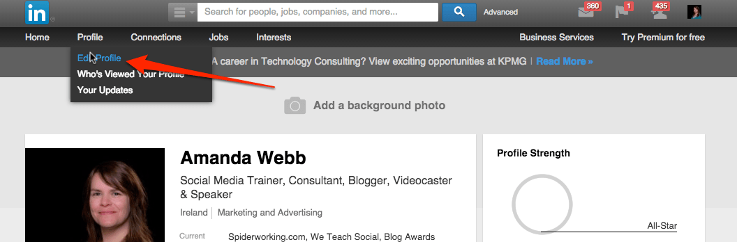 how to add website link on linkedin