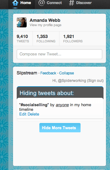Banish Boring Hash Tags on Twitter with Slipstream