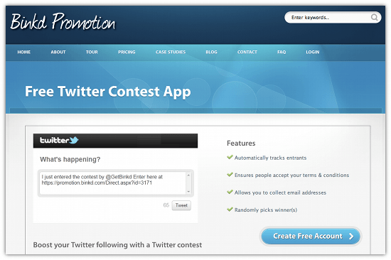 Create Quick, Easy Twitter Contests With Blinkd