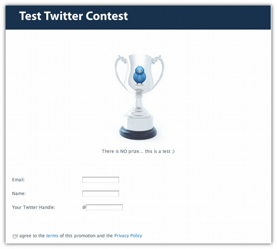 Twitter competition page