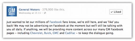 GM Motors Facebook Advertising