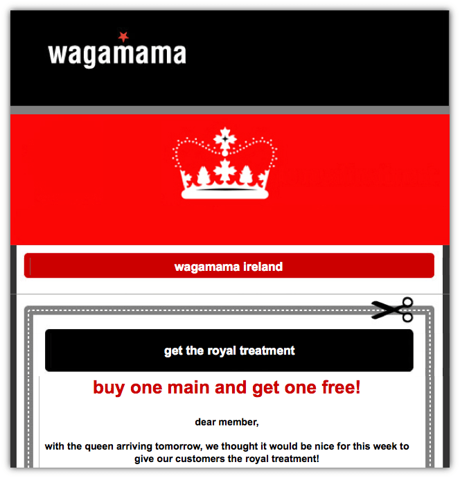 wagamama email offer