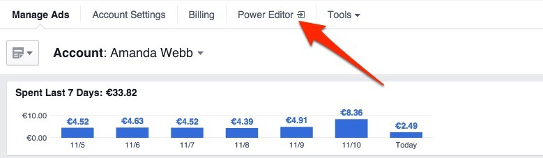 Click 'Power Editor' at the top of the page