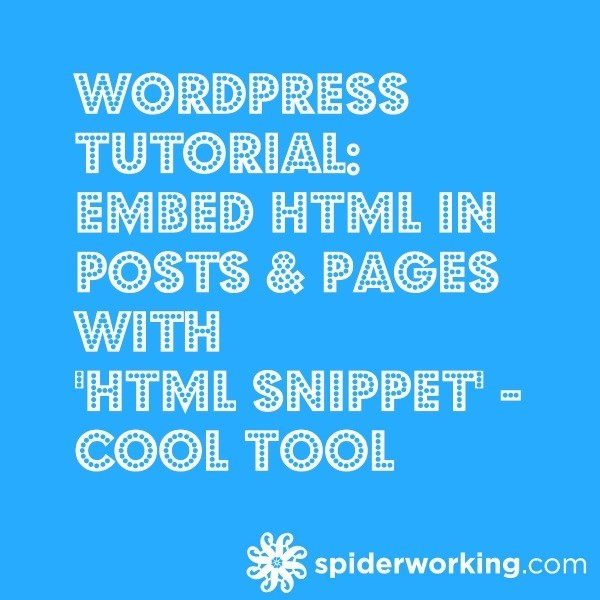 WordPress Tutorial: Embed HTML in Posts & Pages with 'HTML Snippet' – Cool Tool