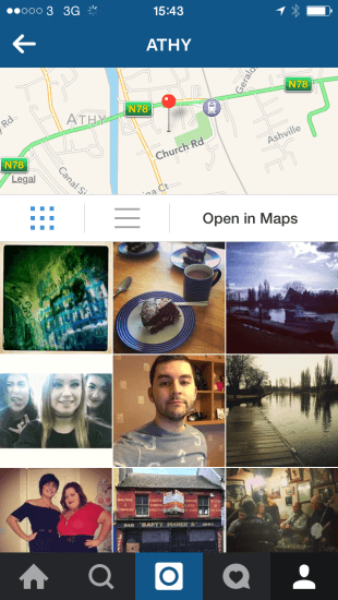 Instagram shows you photos tagged at a specific venue.