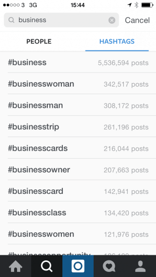 Use Instagram to search for popular hashtags