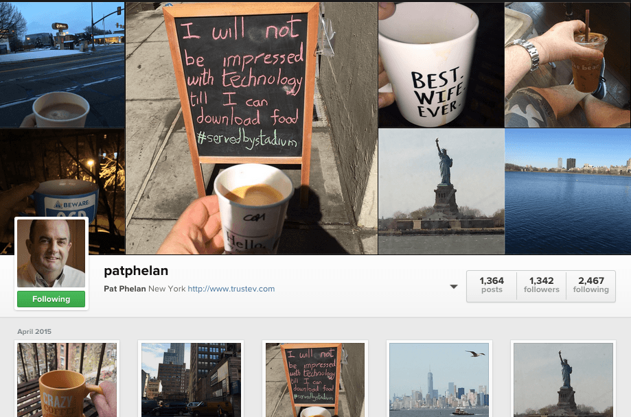 Insta coffee moments from Pat Phelan of Trustev