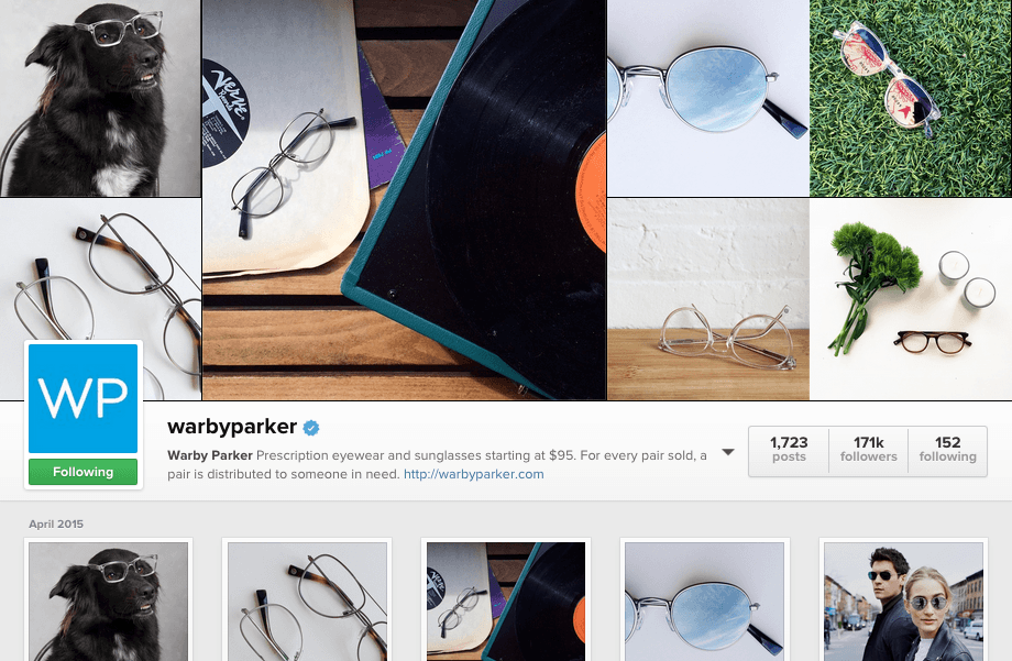 Warby Parker feature their glasses in interesting locations and on interesting people.