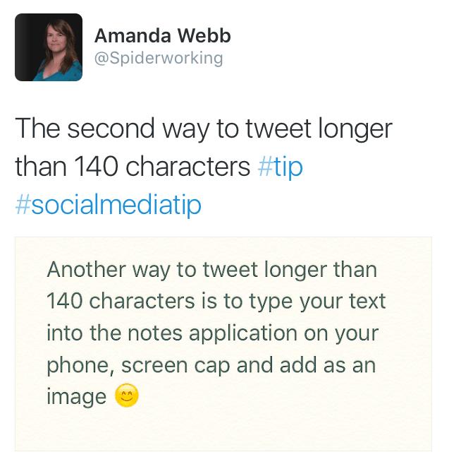 tweet longer than 140 method 2