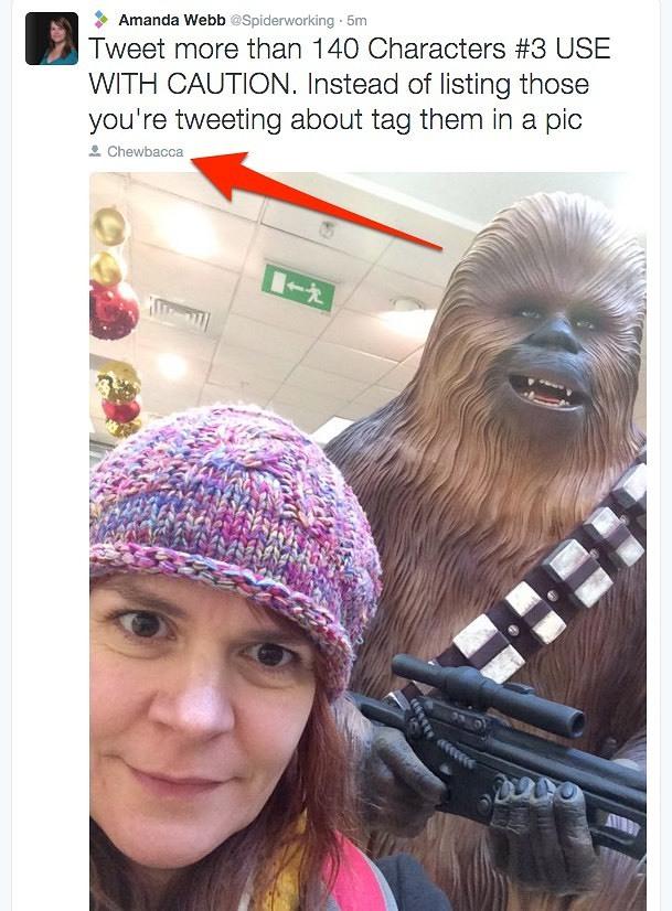tweet longer than 140 using photo tagging
