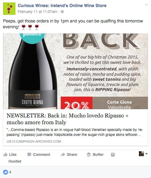 curious wines sales post on Facebook