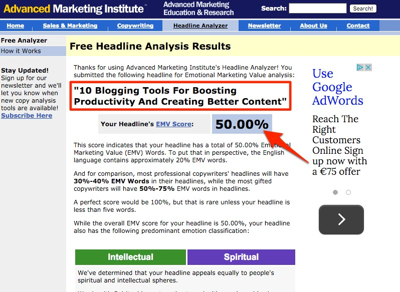 blogging tool emotional value headline analyzer