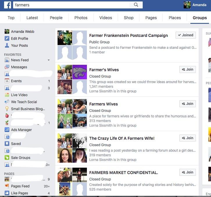 find facebook groups