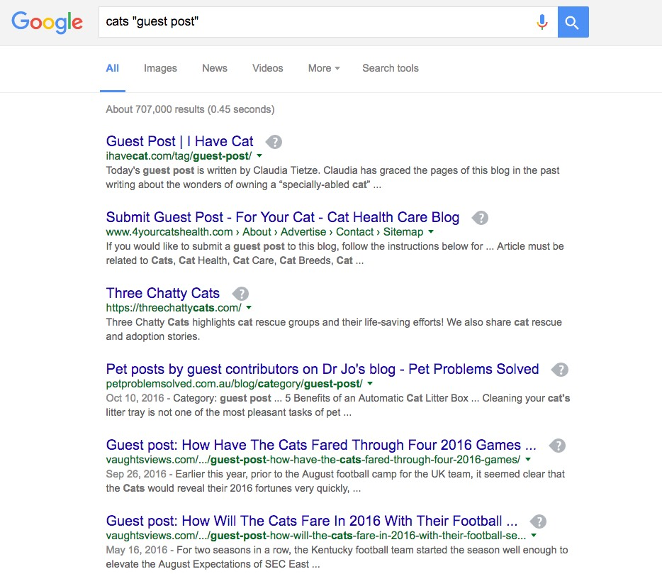 "Search for a keyword and ""guest post"""