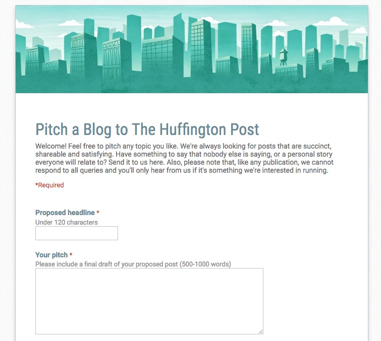 The Huffington Post guest submission form