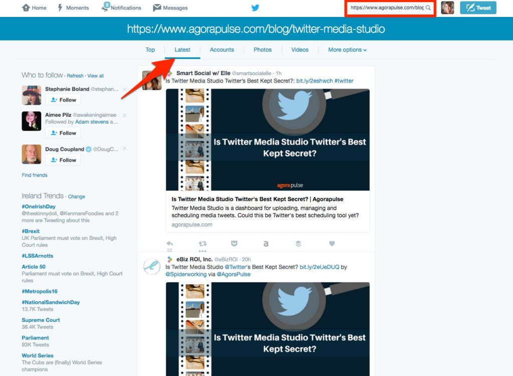 Search Twitter for people sharing your guest posts