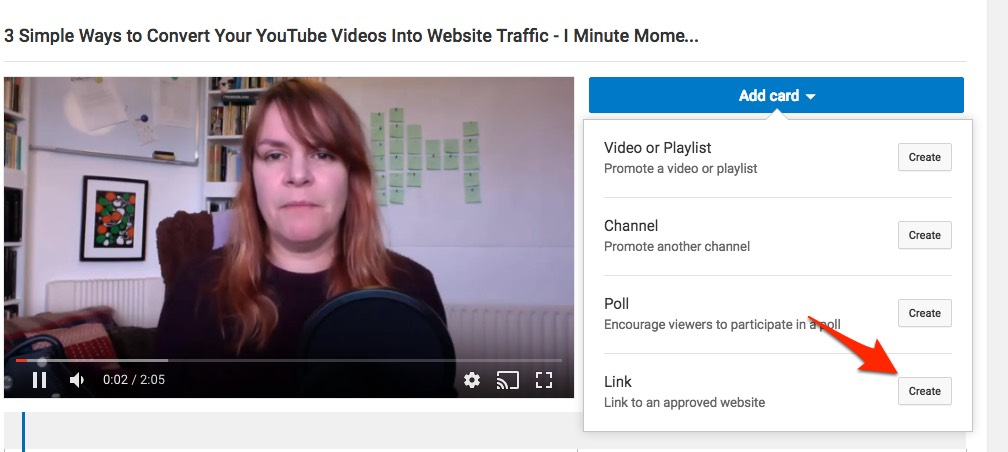 Select 'link' to add a link card to your video