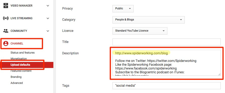 Edit your YouTube channel default settings to include your link