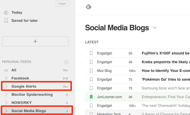 Create different folders for different content in Feedly