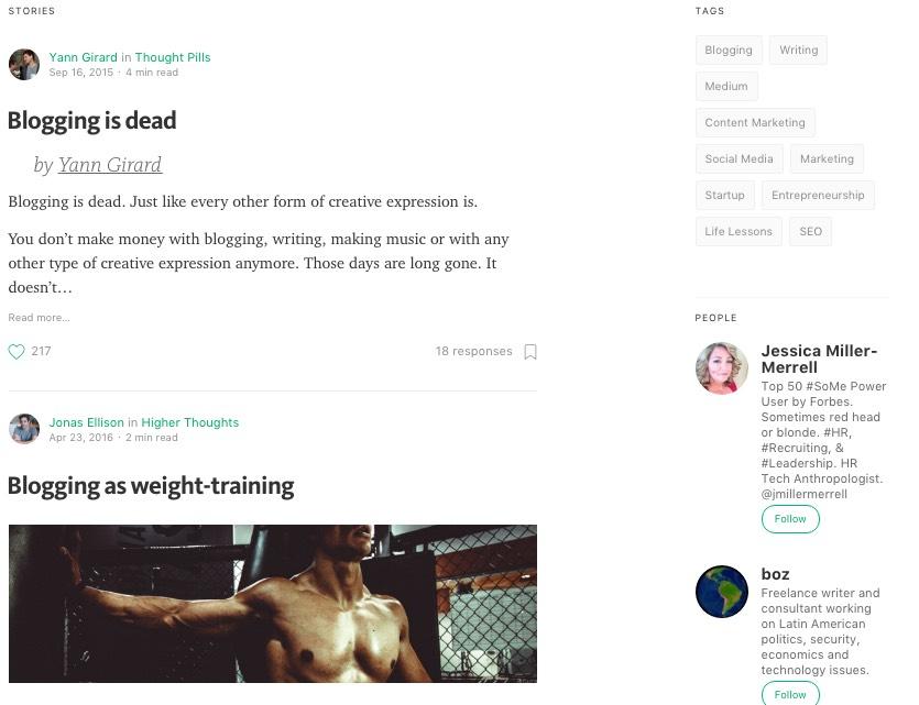 Medium results for 'Blogging'
