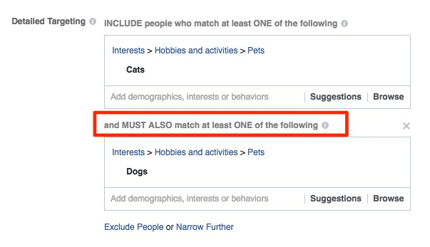 Targeting people who like cats AND dogs