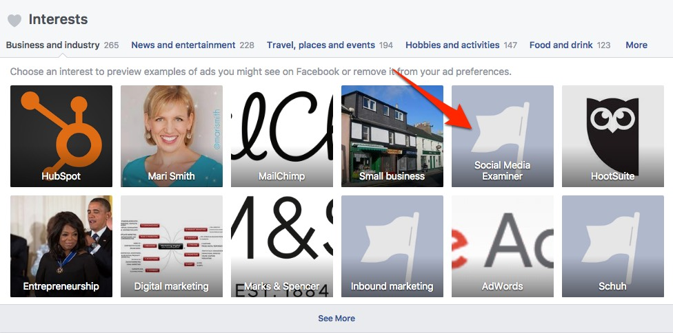 Find inspiration for your Facebook ads by clicking your interests