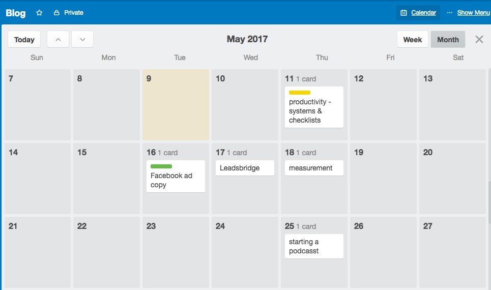 Power-up your Trello board to create a content calendar