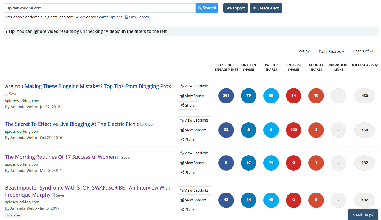 Use BuzzSumo to find your top shared content