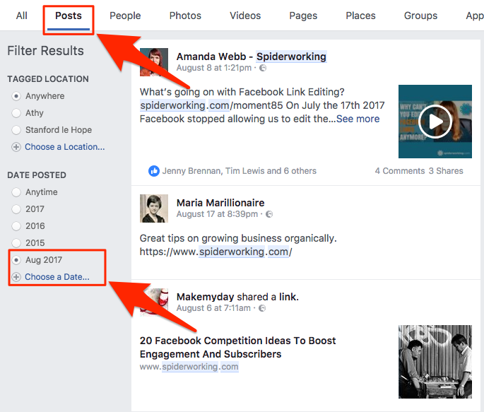 Use Facebook search to manually find mentions of your business.