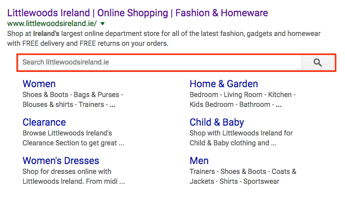 Advanced structured data on the Littlewoods Ireland listing