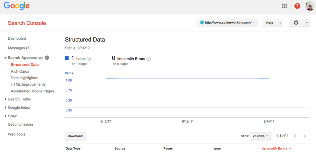 Structured Data report in search console