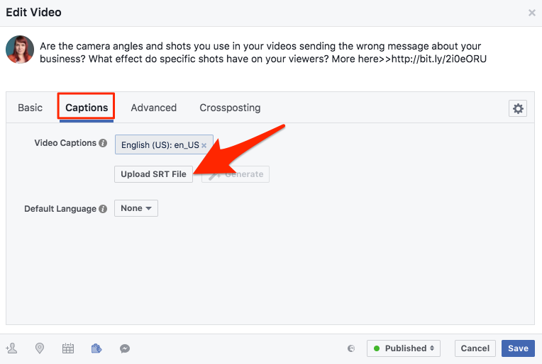 Upload your SRT file to Facebook