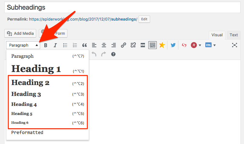 Click 'paragraph' in WordPress to find subheading options