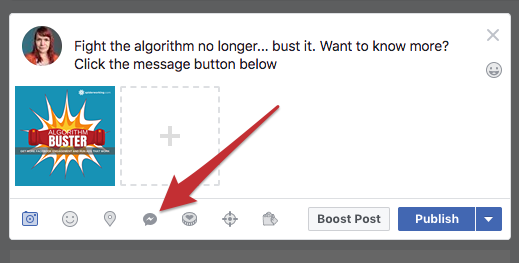 Add the Facebook messenger button to posts