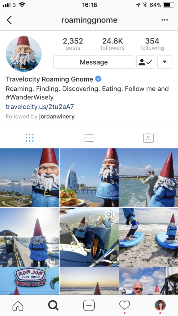 The Roaming Gnome account from Travelocity features a Gnome in every shot