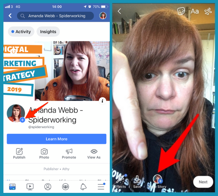How to post to your Facebook page story from the Facebook app