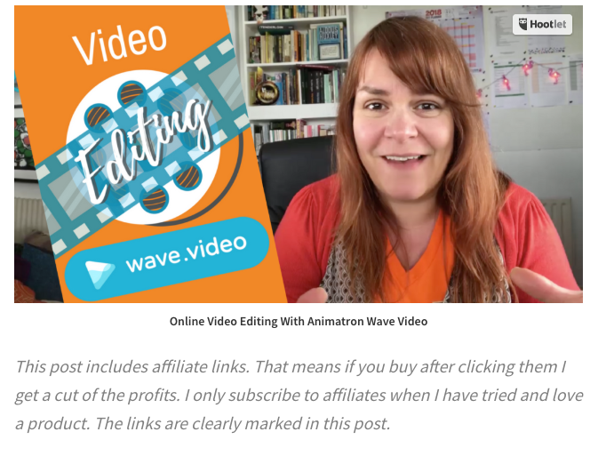 Add a few lines at the top of your post mentioning your affiliate links