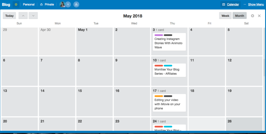 Trello lets you view your content plan as a list or as a Calendar using Power Ups