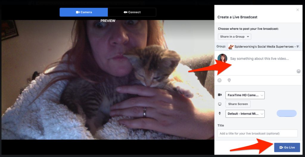 Click 'Live video' to go live to your Facebook group from desktop