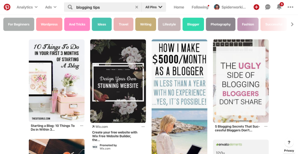 Pinterest search results include associated keywords
