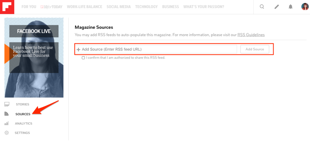Add your blog to a flipboard magazine by adding your RSS feed