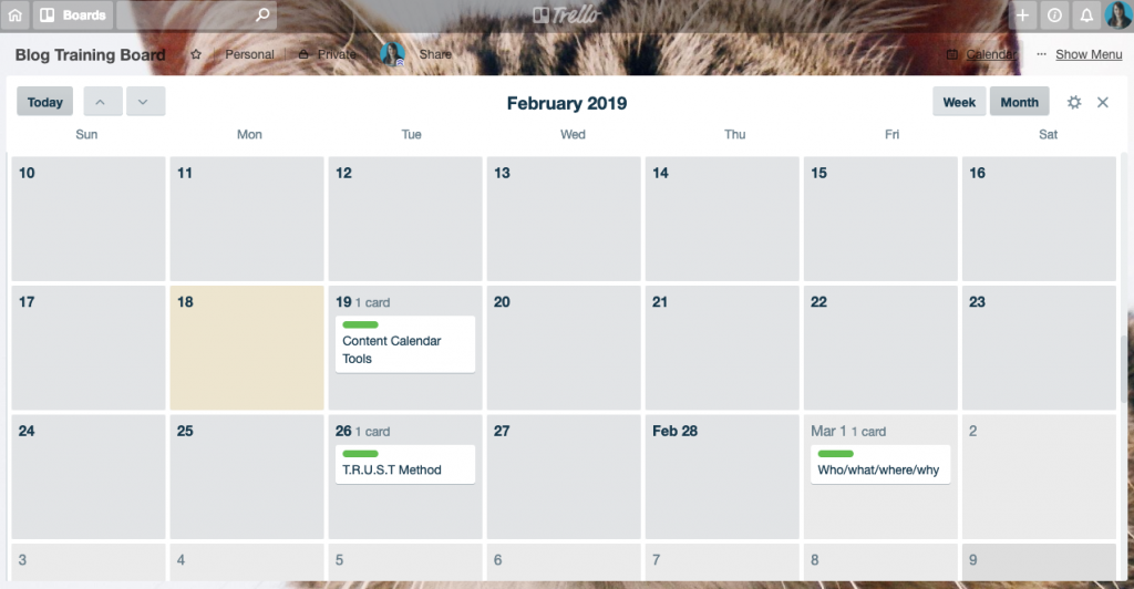 Add the calendar power up to turn your cards into a content calendar