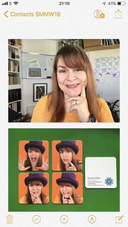 Use a notes app to associate faces with cards