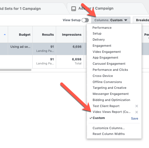 facebook-ad-planning-customise-report-find-preset - Spiderworking