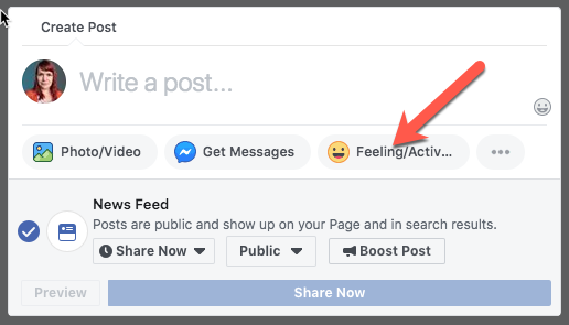 Use the preview/activity button to add context and colour to your posts