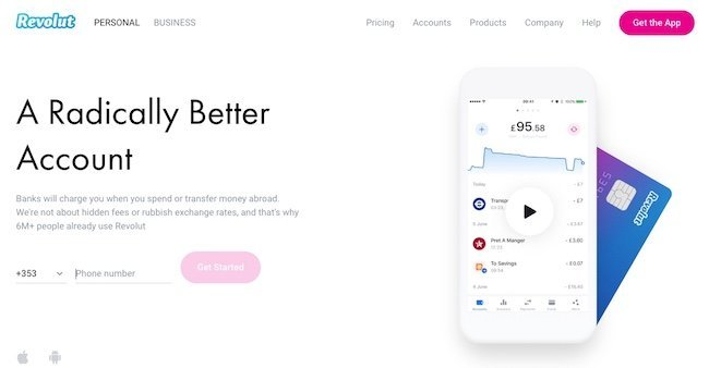 Revolut have a strong call to action getting us to enter a phone number to sign up