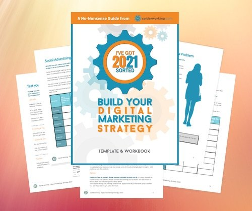 Digital marketing strategy template forms and cover of book